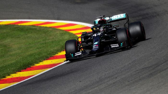 SPA, BELGIUM - AUGUST 29: Lewis Hamilton of Great Britain driving the (44) Mercedes AMG Petronas F1 Team Mercedes W11 drives during final practice for the F1 Grand Prix of Belgium at Circuit de Spa-Francorchamps on August 29, 2020 in Spa, Belgium. (Photo by Stephanie Lecocq/Pool via Getty Images)