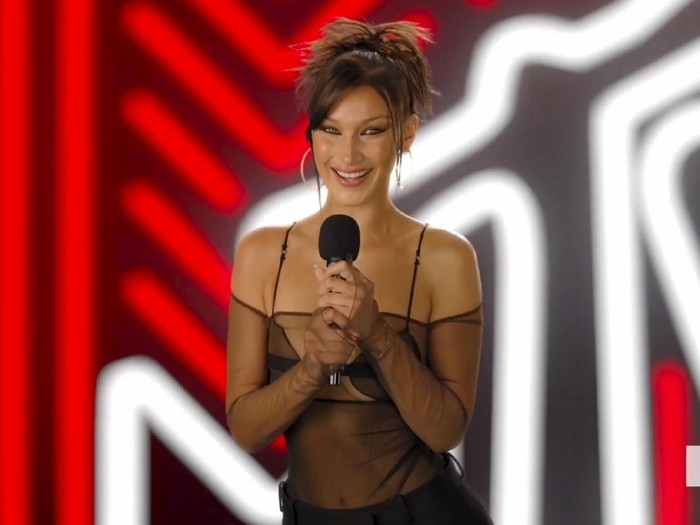 In this video grab issued Sunday, Aug. 30, 2020, by MTV, Bella Hadid presents the Tricon award during the MTV Video Music Awards. (MTV via AP)