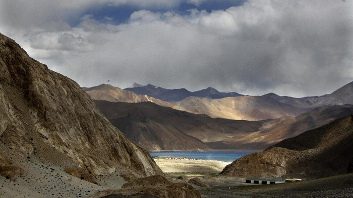 FILE-In this Sept. 14, 2017, file photo, Pangong Tso lake is seen near the India China border in Indias Ladakh area. India said Monday its soldiers thwarted Chinas provocative military movements near a disputed border in Ladakh region amid a monthslong standoff. (AP Photo/Manish Swarup, file)