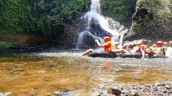 Kabupaten Banyumas di Jawa Tengah dikenal para traveler punya 1.000 curug. Salah satunya Curug Gede Damar Payung di Desa Kotayasa, Kecamatan Sumbang. Di sini, traveler bisa coba river tubing. (Arbi Anugrah/detikcom)