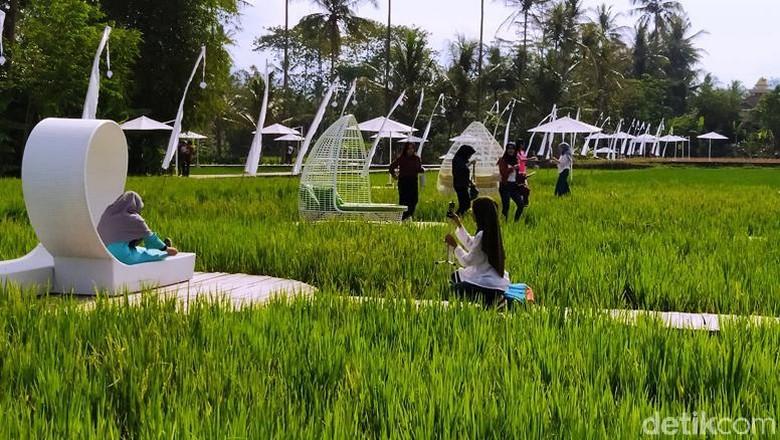 Destinasi wisata SvargaBumi Borobudur tengah menarik perhatian publik. Di sana wisatawan disuguhi pemandangan sawah serta pegunungan Menoreh dan Candi Borobudur