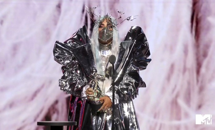 In this video grab issued Sunday, Aug. 30, 2020, by MTV, Lady Gaga accepts the Tricon award during the MTV Video Music Awards. (MTV via AP)