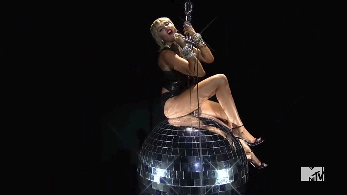 In this video grab issued Sunday, Aug. 30, 2020, by MTV, Miley Cyrus performs