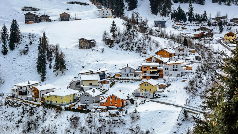 Winter tourism is very attractive in Ischgl. Nice modern place for vacation and rest. This is small colourful village in suburb. Photography is taken from Kapl Dorf.