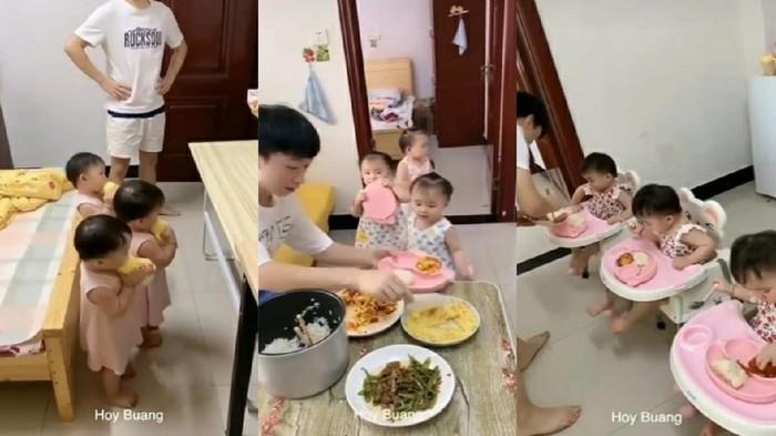 Bocah Kembar 3 Sabar Saat Ayahnya Siapkan Makanan