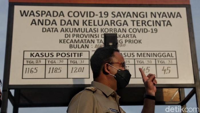 Gubernur DKI Jakarta Anies Baswedan resmikan tugu peti mati korban COVID-19 di Jakarta Utara. Tugu peti mati itu dibuat sebagai peringatan akan bahaya COVID-19.