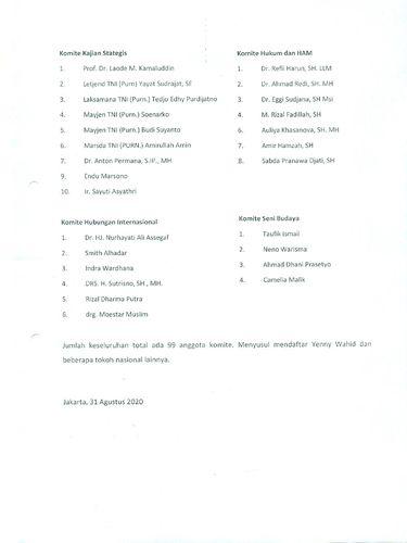 Daftar 99 anggota komite KAMI