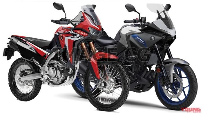 Ilustrasi desain Honda Africa Twin 250 dan Yamaha Tracer 250
