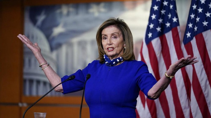 Speaker of the House Nancy Pelosi, D-Calif., speaks during a news conference at the Capitol in Washington, Thursday, Aug. 27, 2020. (AP Photo/J. Scott Applewhite)