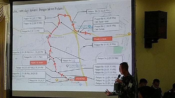 Arah perjalanan oknum TNI penyerang Polsek Ciracas dan sekitarnya. (Foto: Sachril/detikcom)