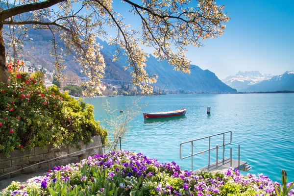 Bunga-bunga, pegunungan dan bangunan khas Eropa menjadi suguhan dari Danau Jenewa. (Getty Images/iStockphoto)