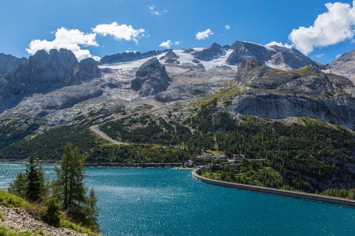 View of the Marmoladas Glacier in Dolomites Alps, Italy