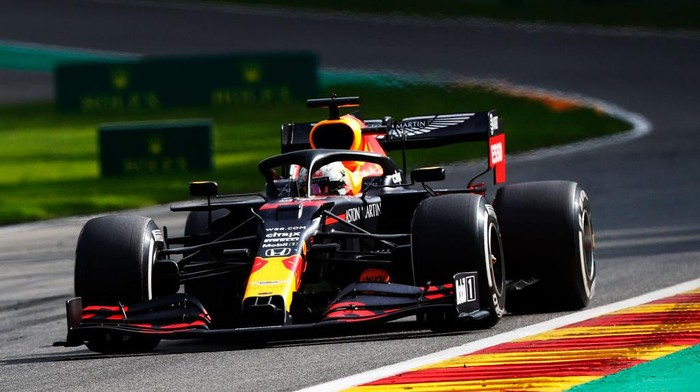 SPA, BELGIUM - AUGUST 30: Max Verstappen of the Netherlands driving the (33) Aston Martin Red Bull Racing RB16 on track during the F1 Grand Prix of Belgium at Circuit de Spa-Francorchamps on August 30, 2020 in Spa, Belgium. (Photo by Francois Lenoir/Pool via Getty Images)