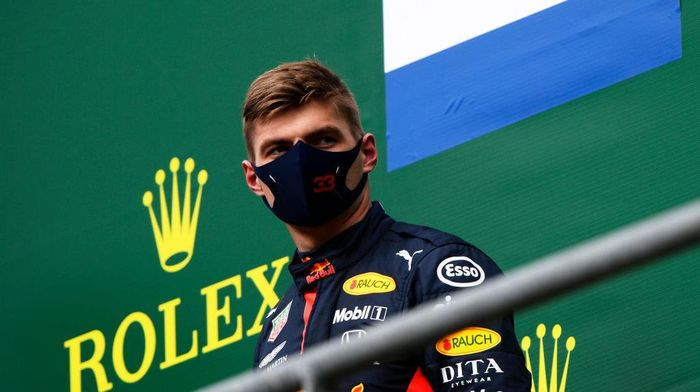 SPA, BELGIUM - AUGUST 30: Third placed Max Verstappen of Netherlands and Red Bull Racing looks on from the podium during the F1 Grand Prix of Belgium at Circuit de Spa-Francorchamps on August 30, 2020 in Spa, Belgium. (Photo by Rudy Carezzevoli/Getty Images)