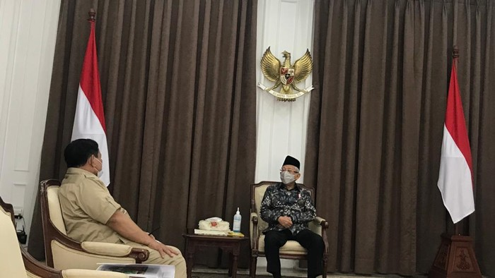 Menhan Prabowo Subianto menemui Wakil Presiden Maruf Amin