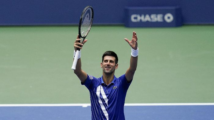 Novak Djokovic, of Serbia, reacts after defeating Kyle Edmund, of Great Britain, during the second round of the US Open tennis championships, Wednesday, Sept. 2, 2020, in New York. (AP Photo/Seth Wenig)