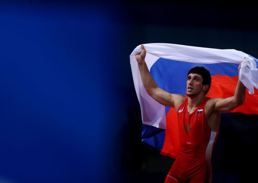 MINSK, BELARUS - JUNE 26: Zaurbek Sidakov of Russia celebrates victory against Soner Demiratas of Turkey in the Men's -74kg Freestyle Wrestling Gold Medal Final during day six of the 2nd European Games at Sports Palace on June 26, 2019 in Minsk, Belarus. (Photo by Francois Nel/Getty Images)