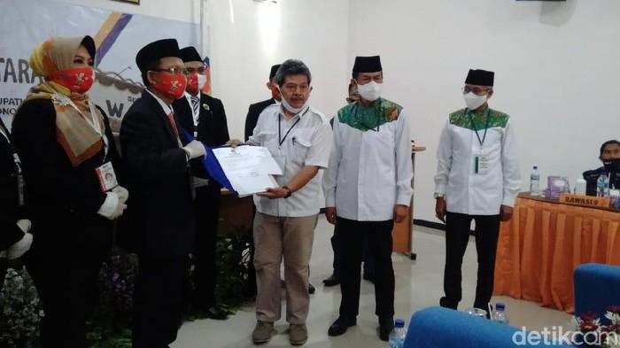 Pasangan Hartanto-Joko Purnomo (Harjo) mendaftar Pilkada Wonogiri, Sabtu (5/9/2020).