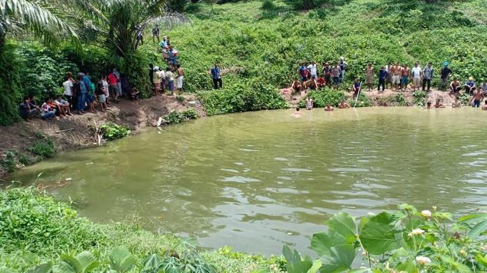 Kolam tempat kedua bocah tenggelam hingga tewas di Serdang Bedagai (Sergai), Sumatera Utara (Sumut).