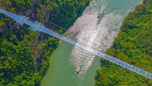 Jembatan kaca di Tiongkok sepanjang 526 meter membentang di atas ketinggian sekitar 206 meter.