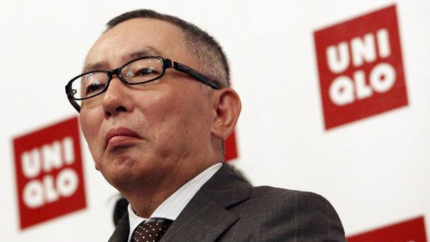 Japanese billionaire clothing retailer Tadashi Yanai attends a press conference where he launched his clothing retail outlet UNIQLO on Monday April 6, 2009 in Singapore. Yanai criticized his government's response to a severe recession as too tepid and called for tax cuts to spur domestic consumption.(AP Photo/Wong Maye-E)