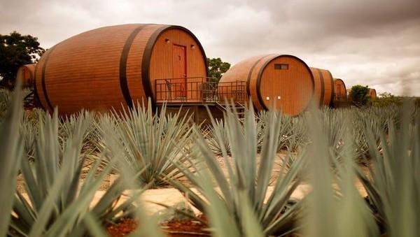Hotel ini menawarkan pengalaman menginap di dalam tong tequila raksasa. Jika dilihat dari luar, bentuknya memang persis tong, ditambah di sekitarnya terdapat tanaman agave yang memang digunakan sebagai bahan baku produksi tequila di kawasan itu.