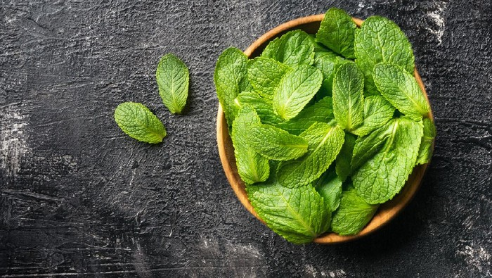 Mint leaves herb on dark stone table with copy space.