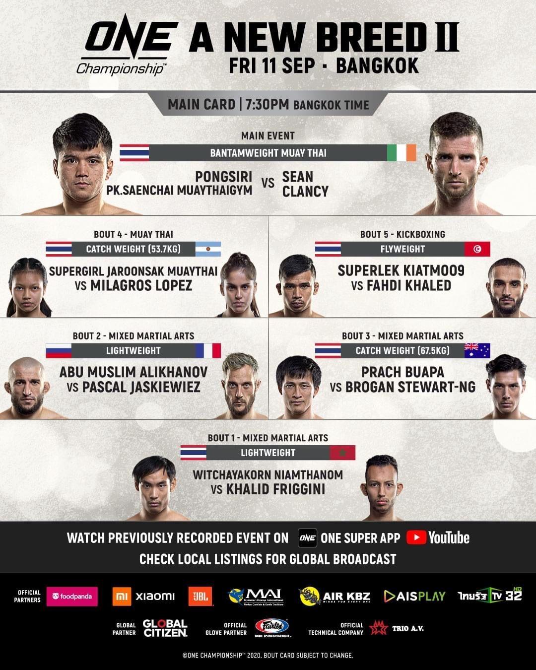 ONE Championship 2020 di Bangkok