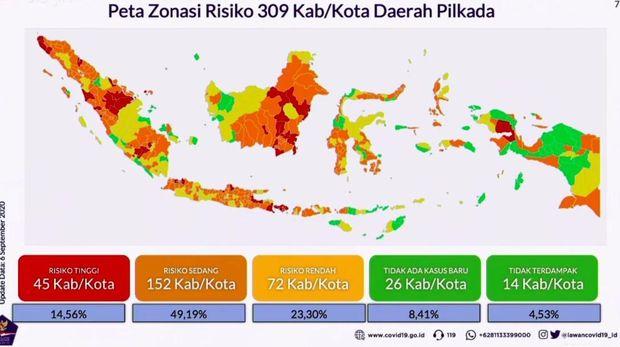 Data zonasi Corona di daerah penyelenggara Pilkada 2020.