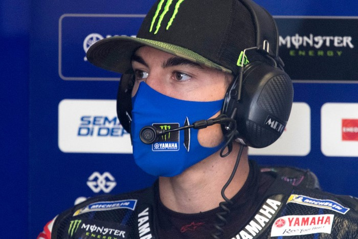 SPIELBERG, AUSTRIA - AUGUST 14: Maverick Vinales of Spain and Monster Energy Yamaha MotoGP Team looks on in box during the MotoGP Of Austria - Free Practice at Red Bull Ring on August 14, 2020 in Spielberg, Austria. (Photo by Mirco Lazzari gp/Getty Images)
