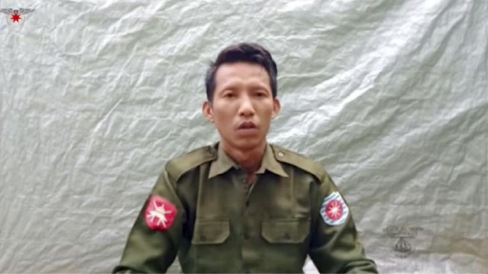 "In this image taken from video provided by the Arakan Army, Private Myo Win Tun provides a video testimony from an undisclosed location somewhere in Myanmar on July 23, 2020. Two soldiers who deserted from Myanmar's army have testified on video that they were instructed by commanding officers to ""shoot all that you see and that you hear"" in villages where minority Rohingya Muslims lived, a human rights group said Tuesday, Sept. 8, 2020. (Arakan Army via AP)"