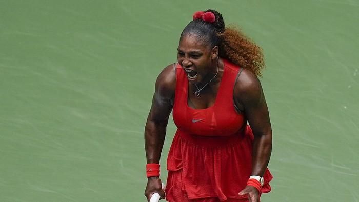 Serena Williams, of the United States, reacts during a match against Tsvetana Pironkova, of Bulgaria,during the quarterfinals of the US Open tennis championships, Wednesday, Sept. 9, 2020, in New York. (AP Photo/Seth Wenig)