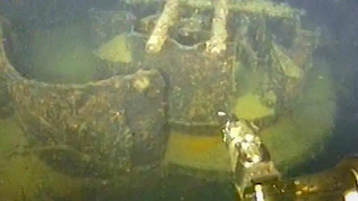 The submerged wreck of the Nazi cruiser which was torpedoed and sunk off the coast of Norway in 1940 - Statnett/AFP