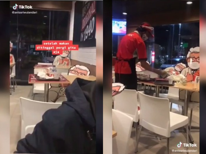 Masih banyak orang yang malas bersihkan bekas makanan sendiri di restoran fast food