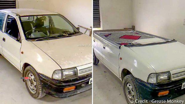 Mobil hatchback Suzuki dimodifikasi jadi tempat tidur