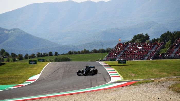 SCARPERIA, ITALY - SEPTEMBER 11: Valtteri Bottas of Finland driving the (77) Mercedes AMG Petronas F1 Team Mercedes W11 on track during practice ahead of the F1 Grand Prix of Tuscany at Mugello Circuit on September 11, 2020 in Scarperia, Italy. (Photo by Bryn Lennon/Getty Images)