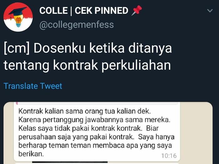 Chat dosen soal kontrak perkuliahan, Sabtu (12/9/2020).