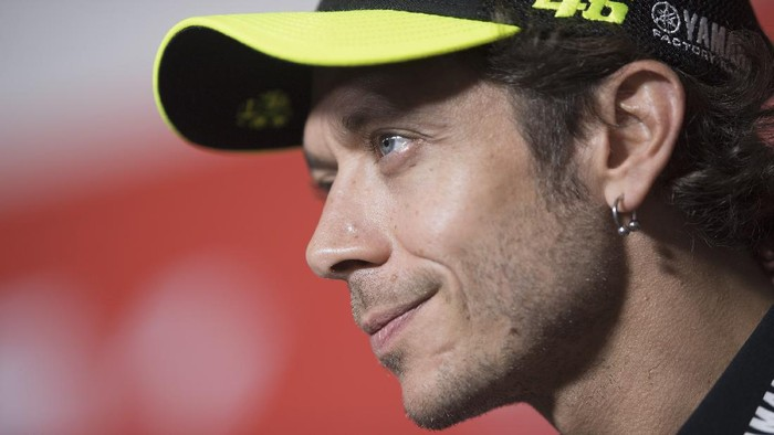 MISANO ADRIATICO, ITALY - SEPTEMBER 10: Valentino Rossi of Italy and Monster Energy Yamaha MotoGP Team speaks during the press conference pre-event during the MotoGP Of San Marino - Previews at Misano World Circuit on September 10, 2020 in Misano Adriatico, Italy. (Photo by Mirco Lazzari gp/Getty Images)