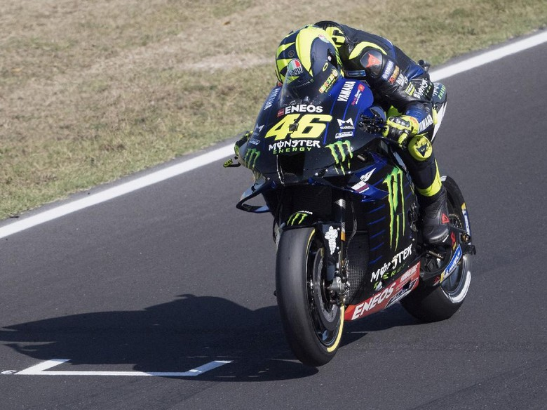 MISANO ADRIATICO, ITALY - SEPTEMBER 11: Valentino Rossi of Italy and Monster Energy Yamaha MotoGP Team heads down a straight during the MotoGP Of San Marino - Free Practice at Misano World Circuit on September 11, 2020 in Misano Adriatico, Italy. (Photo by Mirco Lazzari gp/Getty Images)