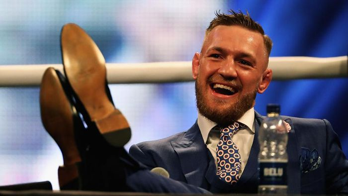 LONDON, ENGLAND - JULY 14:  Conor McGregor looks on during the Floyd Mayweather Jr. v Conor McGregor World Press Tour at SSE Arena on July 14, 2017 in London, England.  (Photo by Matthew Lewis/Getty Images)
