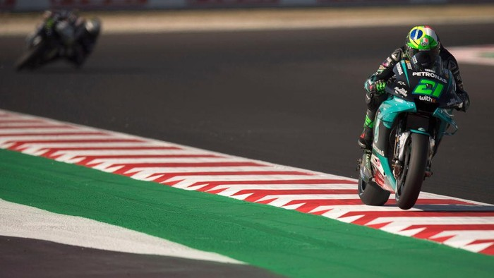 MISANO ADRIATICO, ITALY - SEPTEMBER 11: Franco Morbidelli of Italy and Petronas Yamaha SRT  heads down a straight during the MotoGP Of San Marino - Free Practice at Misano World Circuit on September 11, 2020 in Misano Adriatico, Italy. (Photo by Mirco Lazzari gp/Getty Images)