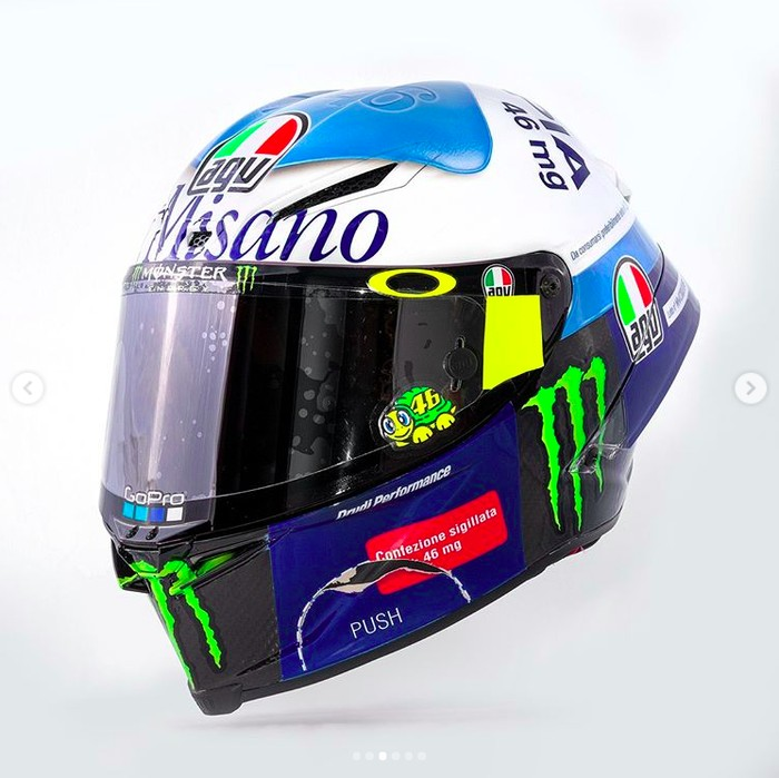 Helm Pil Biru Valentino Rossi di Misano 2020