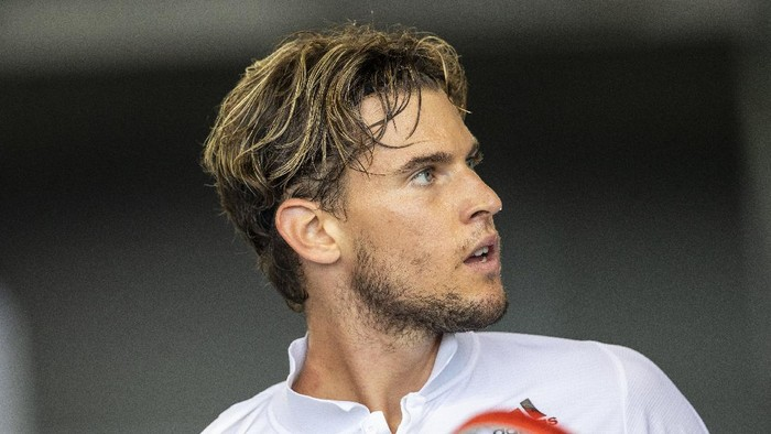 BERLIN, GERMANY - JULY 18: Dominic Thiem of Austria looks on during semi final match against Tommy Haas of Germany on day 5 of the tennis tournament bett1ACES at Hangar 6 of the former airport Tempelhof on July 18, 2020 in Berlin, Germany. (Photo by Maja Hitij/Getty Images)