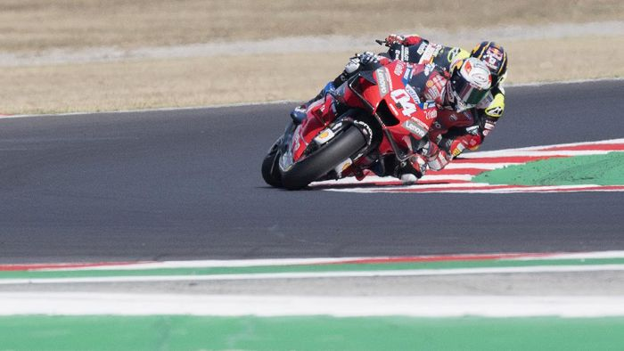 MISANO ADRIATICO, ITALY - SEPTEMBER 13: Andrea Dovizioso of Italy and Ducati Team rounds the bend during the MotoGP Race during the MotoGP Of San Marino - Race at Misano World Circuit on September 13, 2020 in Misano Adriatico, Italy. (Photo by Mirco Lazzari gp/Getty Images)