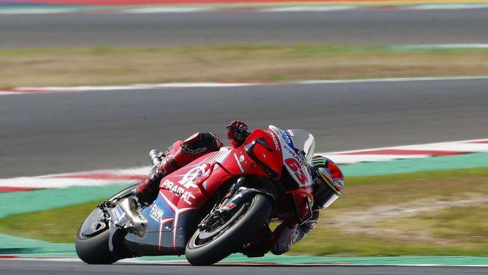MotoGP rider Francesco Bagnaia of Italy steers his motorcycle during the San Marino Motorcycle Grand Prix at the Misano circuit in Misano Adriatico, Italy, Sunday, Sept. 13, 2020. (AP Photo/Antonio Calanni)