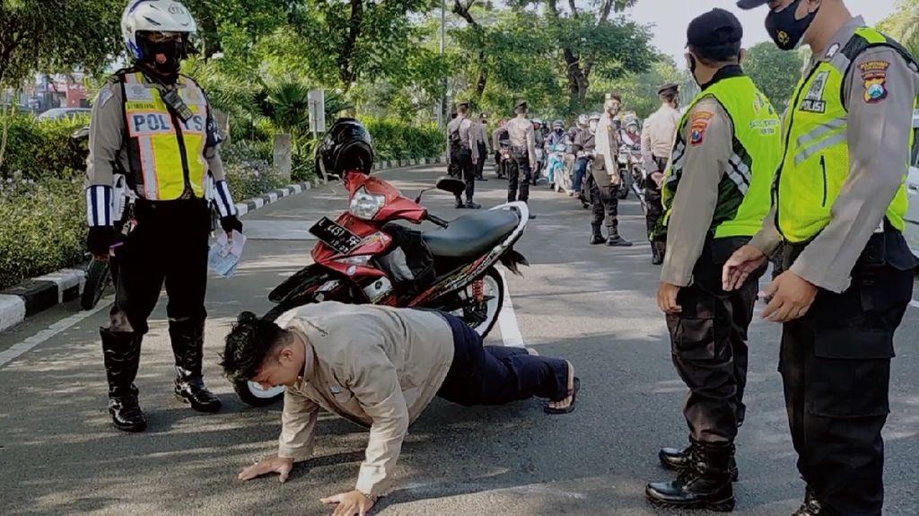 Masih Tak Bermasker di Surabaya? Push Up dan Sita KTP Hukumannya!