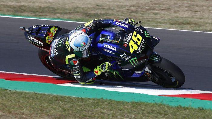 MotoGP rider Valentino Rossi of Italy takes a curve during the San Marino Motorcycle Grand Prix at the Misano circuit in Misano Adriatico, Italy, Sunday, Sept. 13, 2020. (AP Photo/Antonio Calanni)