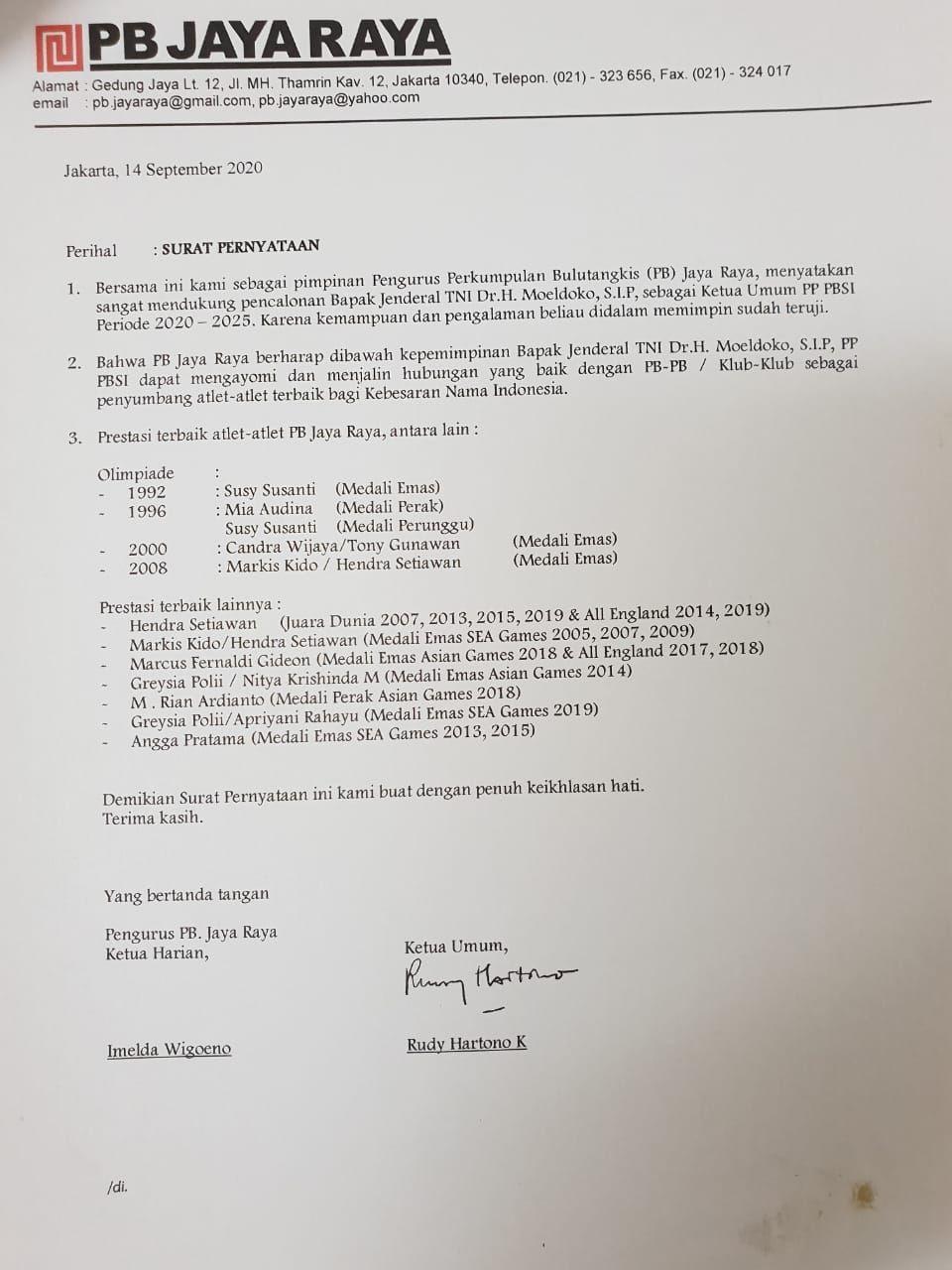 PB Jaya Raya dukung Moeldoko jadi Ketum PBSi 2020-202