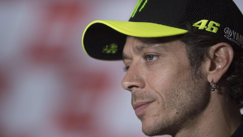 MISANO ADRIATICO, ITALY - SEPTEMBER 10: Valentino Rossi of Italy and Monster Energy Yamaha MotoGP Team looks on during the press conference pre-event during the MotoGP Of San Marino - Previews at Misano World Circuit on September 10, 2020 in Misano Adriatico, Italy. (Photo by Mirco Lazzari gp/Getty Images)