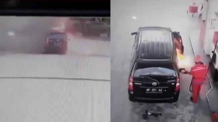Sebuah mobil terbakar saat isi bensin di SPBU Diponegoro, Palu, Sulawesi Selatan. Mulanya, muncul letupan dari dalam mobil hingga akhirnya terbakar.